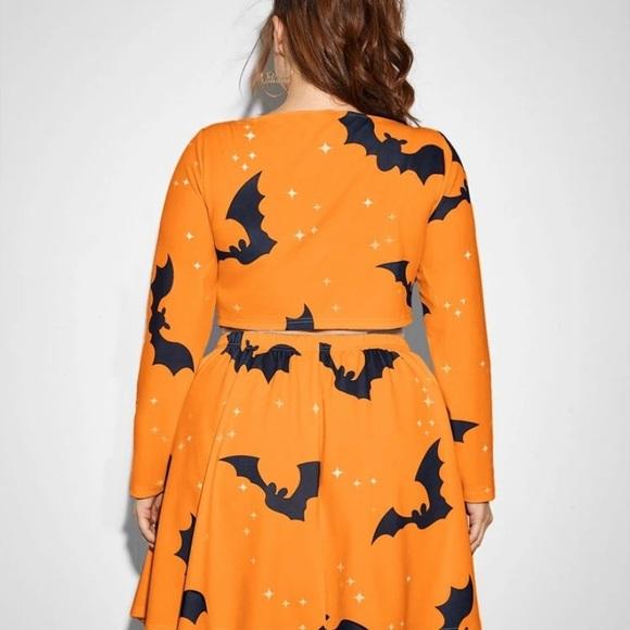 SHEIN Plus bat & Star print crop top and tee set